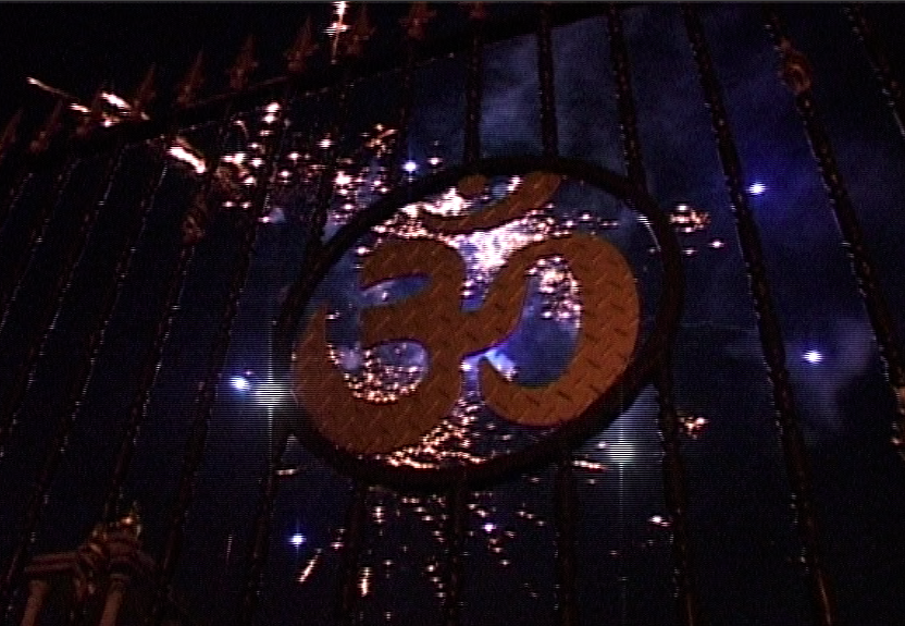 Fireworks and Om symbol